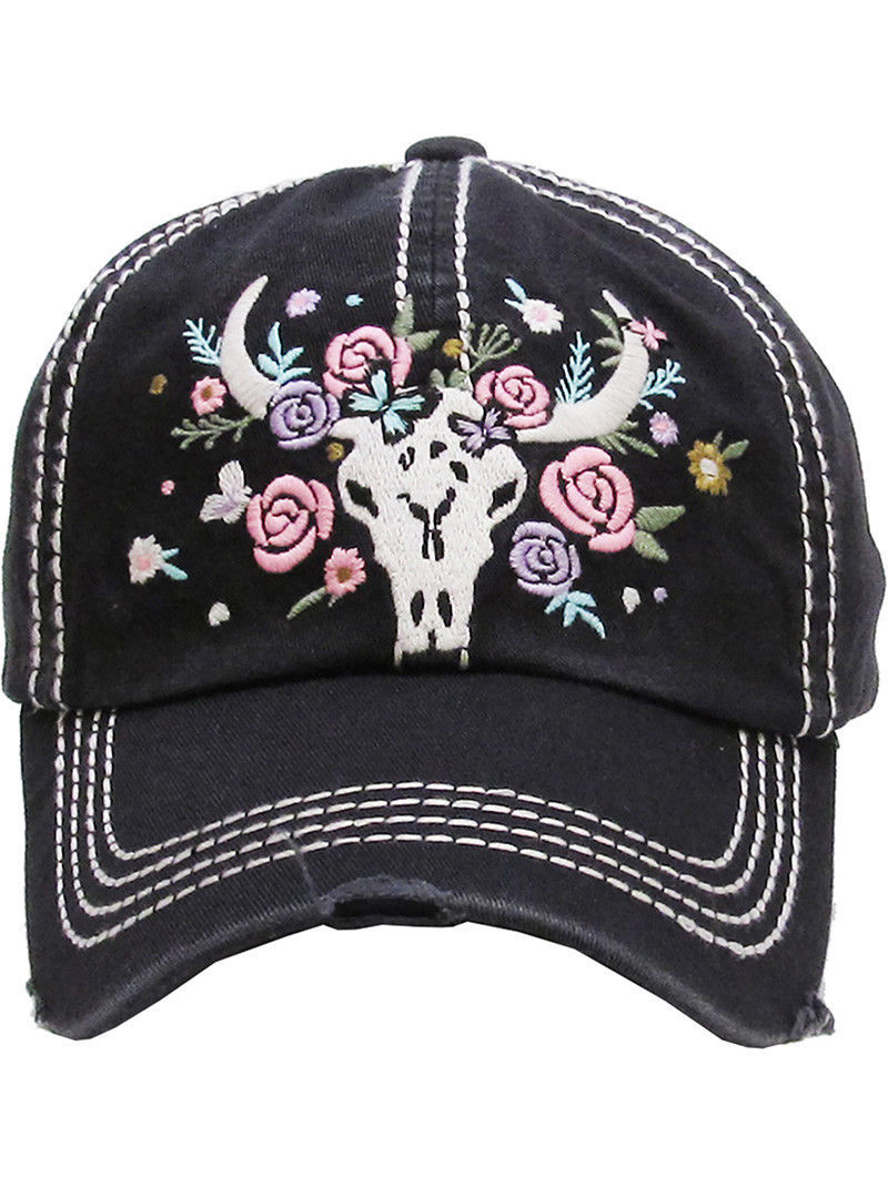 Distressed Country Western Cowgirl Longhorn Flowers Hat Baseball Cap