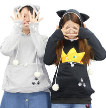 NEW Cat Lovers Hoodies With Cuddle Pouch Mewgaroo Nyangaroo Dog Pet Hood... - $63.50