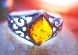 Haunted RING 3X 100 SACRED ENERGIES MAGICK 925 AMBER WITCH Cassia4 - $58.77