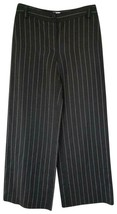 Armani Collezioni Pants 4 Black White Pinstripe Wide Leg Linen Viscose Italy - $88.11