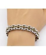 MEXICO 925 Silver - Vintage Two Tone Brick Layer Twist Chain Bracelet - ... - $155.30