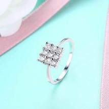 Nine Stone Square Shaped Swarovski Elements Ring in White Gold - $15.20