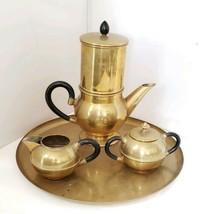 Vintage Brass Coffee Set Pot Press Tray Creamer Sugar Bowls Brass Coffee... - $23.74