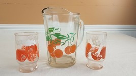Vintage Swanky Swigs Glass Pitcher with 2 Juice Glasses Set Orange Blossoms - $23.36