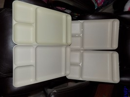 Tupperware 4 ALMOND Dining cafeteria TV Dinner Four divided picnic Trays... - €37,83 EUR