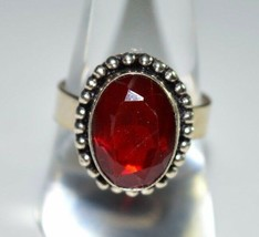VTG .925 Sterling Silver Red Faceted Glass Stone Ring Size 8.75 - $39.60