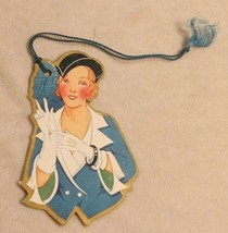 1930s era Woman in Blue outfit Bunko Tally Card - $14.84