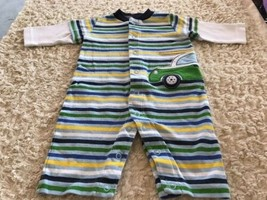 Carters Boys Green Blue Yellow White Car Surfboard Long Sleeve Romper 3 ... - $4.50