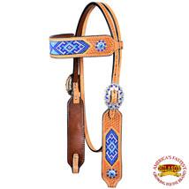 Hilason Western Horse Headstall Bridle American Leather Beaded Tan Basket U-7-HS - $64.34