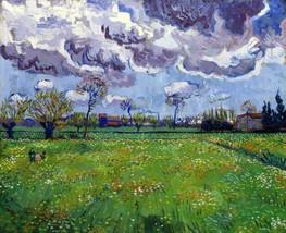 Paysage Sous un Ciel Mouvemente Painting by Vincent van Gogh Art Reprodu... - $32.99+