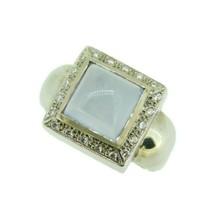 Modern 14k White Gold Square Genuine Natural Chalcedony Ring w/Diamonds ... - $650.00