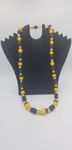 Vintage MOD Style Black, Yellow & Gold Round Beaded Necklace W/ Disk Spacers EUC - $19.32