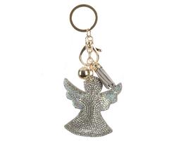 Aurore Boreale Angel Tassel Bling Faux Suede Stuffed Pillow Key Chain Ha... - $12.95