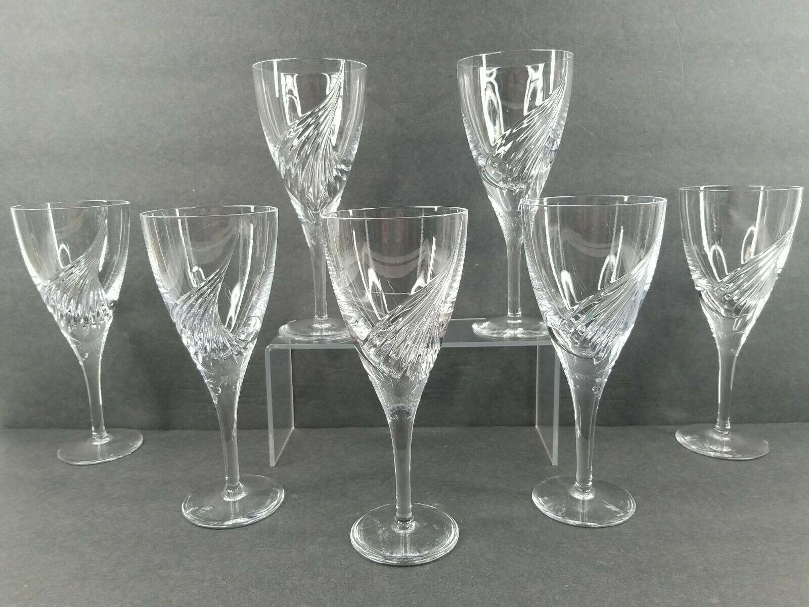 "7 Atlantis Flight Water Goblets Set 8 1/8"" Clear Crystal Elegant Barware Glasses - $247.17"