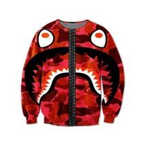 Funny Crazy Shark Red Sweatshirt - $36.58