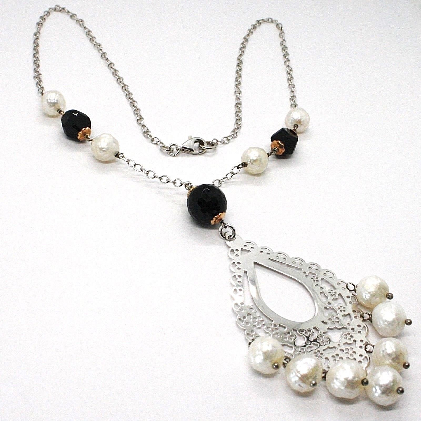 COLLANA ARGENTO 925, ONICE NERA, PERLE BIANCHE, PENDENTE FLOREALE