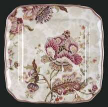 "4 GABRIELLE Jacobean Floral Cream 222 Fifth 8-5/8"" Scalloped Square Plat... - $44.99"