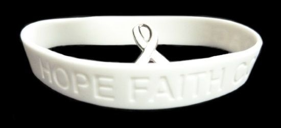 White Awareness Ribbon Lapel Pin Bracelet Set Silicone Cancer Debossed Letters image 3