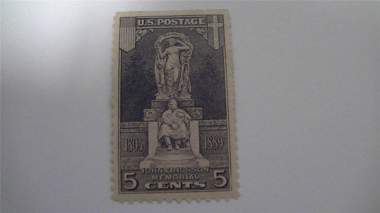 Vintage John Ericsson Memorial Gray Lilac USA Mint Hinged 5 Cent Stamp