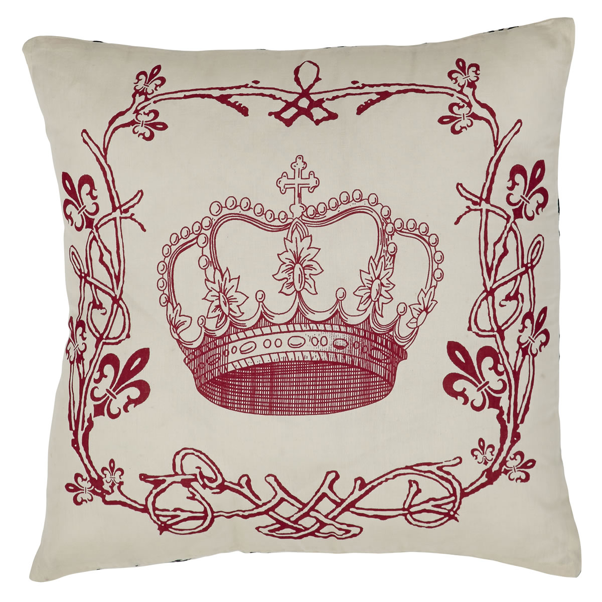 Elysee Stencil Crown Pillow - Fleur de Lis - 16x16 - Black, Red and Creme - VHC