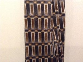 Van Heusen Forest Green/Charcoal w Gold/Tan Rectangle Pattern Silk Tie