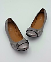NIB Coach Chelsey Silver Metallic Leather Ballet Flats  6 36 New - $98.00