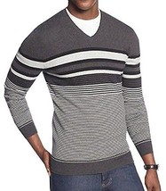 Alfani Men's V-neck Gray Black Ice Htr Combo Striped Pullover Sweater New - $24.49+
