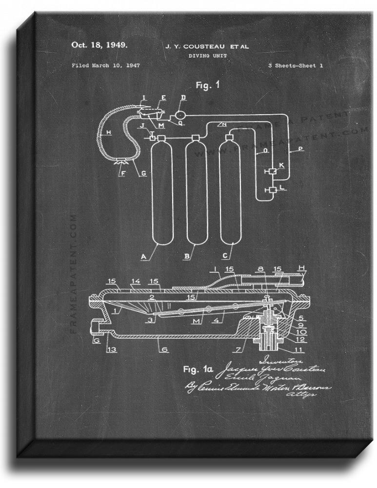 Primary image for Jacques Cousteau Diving Unit Patent Print Chalkboard on Canvas