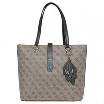 Guess NWT Nassina Brown Signature Logo Large Pocket Tote Zip Studded Leaf Charm - $79.19