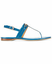 New Womens Authentic Coach Flats Leather 9 Shoes Bright Blue Logo Sandal Shiny - $208.00