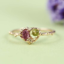 Tourmaline and Peridot Heart Shaped Rose Gold Plated Ring - $48.00