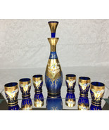 Mid-Century Barware Bohemian Cobalt Blue Decanter Set Raised Enamel Gold... - $99.99