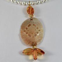 Collier en or Jaune 18KT Avec Perles Blanches Nacre Perforé Et Ambre image 3