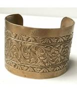 "Vintage 2"" Wide Brass Floral Flower Scroll Design Cuff Bracelet - $15.79"
