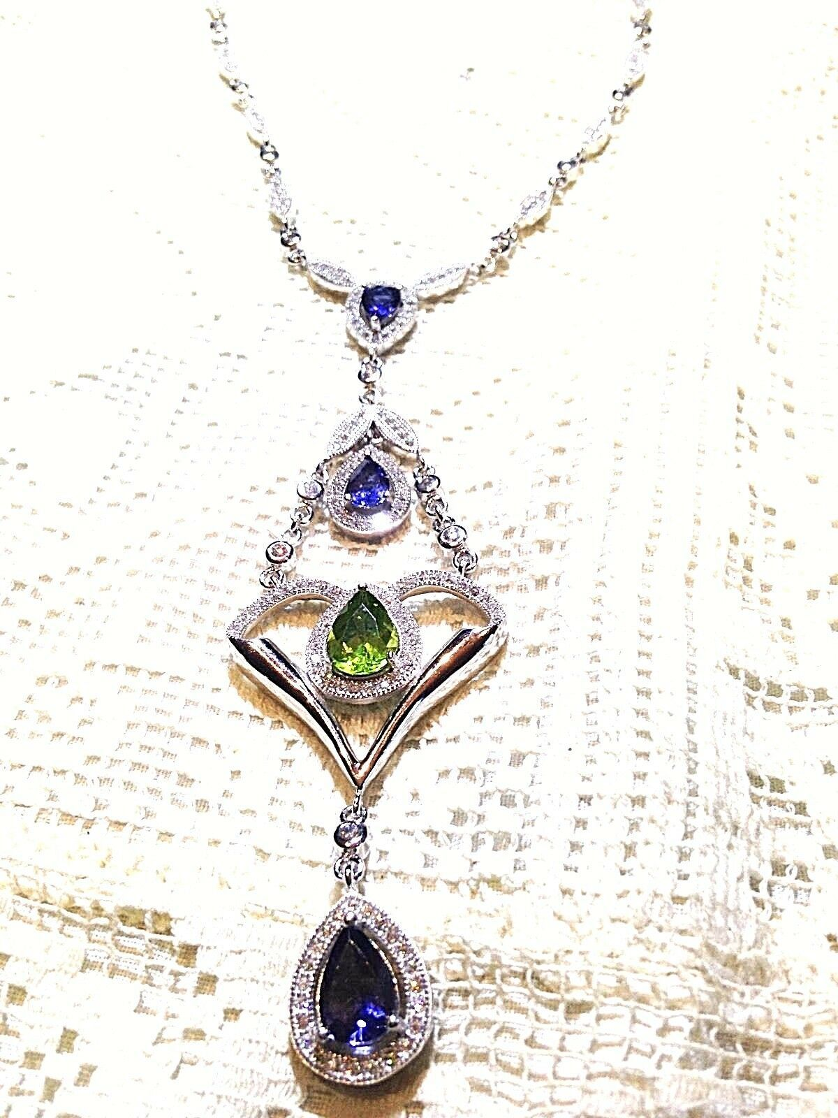 Vintage Genuine White Sapphire Peridot Real Iolite 925 Sterling Silver Necklace