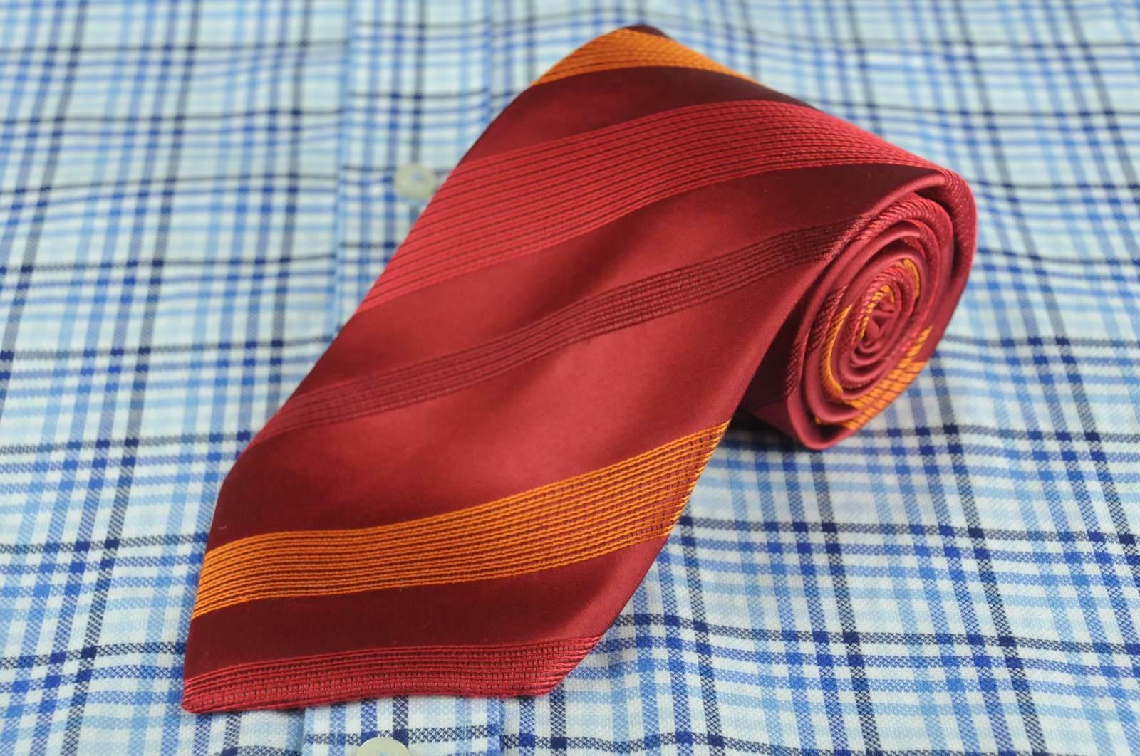 Kenneth Cole Men's Tie Ruby & Orange Striped Woven Silk Necktie 60 x 3.5 in.