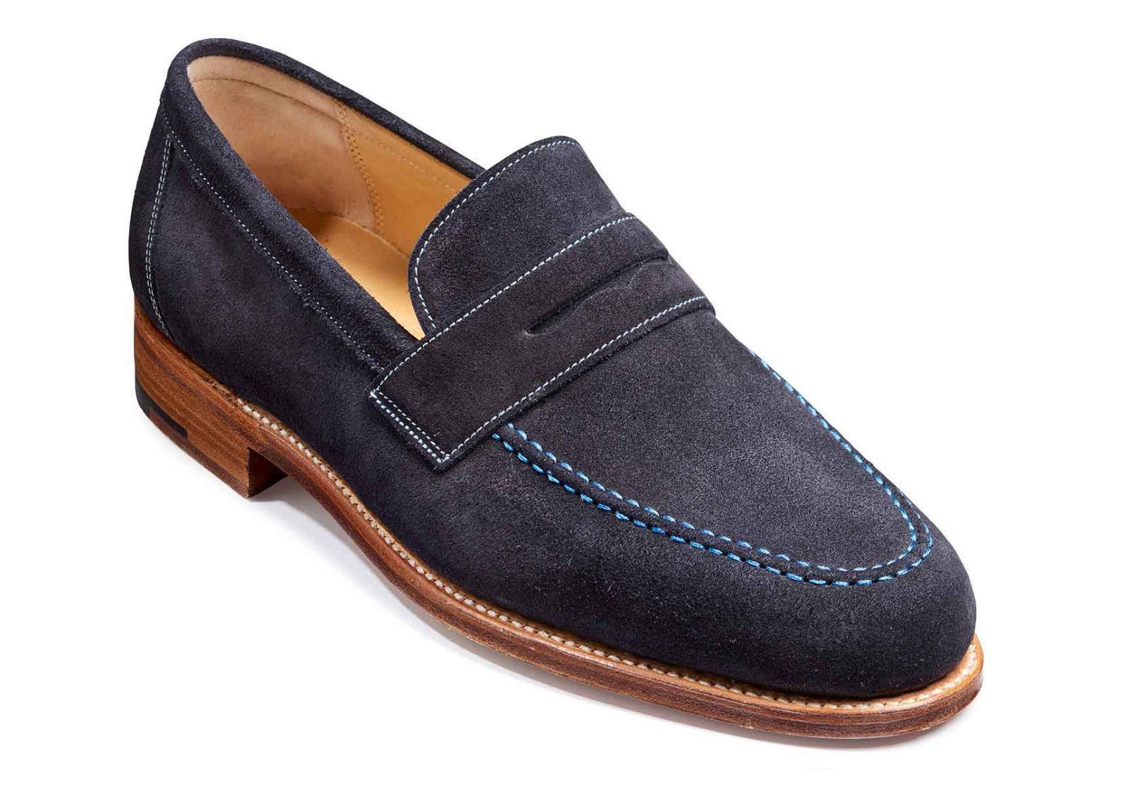 Men's Navy Blue Color Penny Loafer Slip On Suede Leather ...