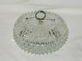 Indiana Glass Diamond Point Pattern Round Covered Candy Box - $12.82