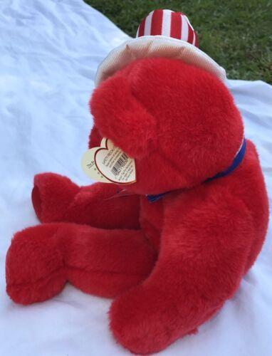 "SAM THE RED BEAR BEANIE BUDDY 2004 MWMT 14"" Patriotic Stars & Stripes Hat image 2"