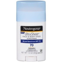Neutrogena Sunscreen Ultra Sheer Face & Body Stick SPF 70 1.5oz UVA UVB - $7.42