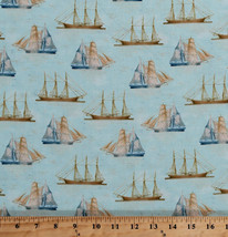 Vintage Tall Ships Sailboats Nautical Ocean Sea Cotton Fabric Print BTY ... - $10.95