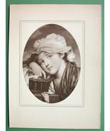LOVELY MAIDEN w/ Basket - Antique Print by GREUZE Original - $10.12