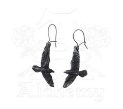 SteamPunk Victorian Alchemy Gothic Pewter Black Raven Loop Earrings, NEW... - $15.47