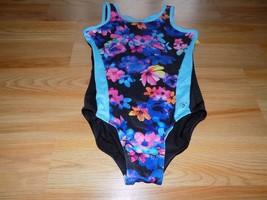 Girls Size 10 Justice Active Black Blue Floral Flower Dance Gymnastics L... - $22.00