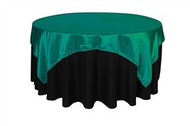 Your Chair Covers - 72 inch Square Satin Table Overlay Teal, Square Sati... - $11.14