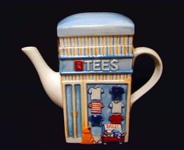 JEANS & TEES T-SHIRTS Storefronts Embossed 2 Diff Sides Teapot w/Tea Bag... - $16.99