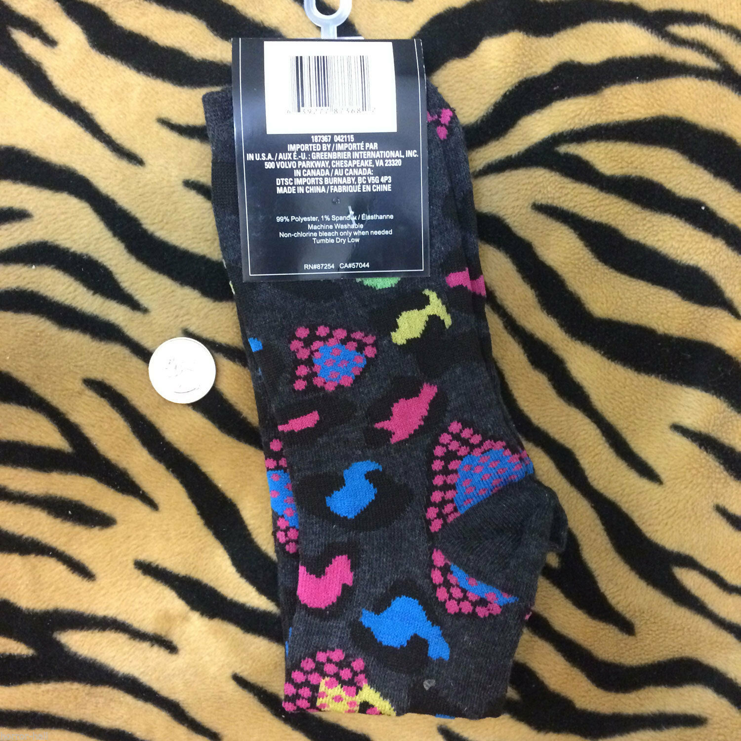 Funky Black Gray ZEBRA STRIPE KNEE SOCKS Animal Print Lolita Soccer Volleyball