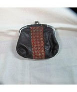 Vintage Leather Change Purse with Patchwork Pattern - $12.19