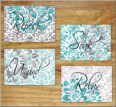 Teal Gray Aqua Bathroom Wall Art Print Picture Floral Damask Quotes Relax Unwind - $13.99