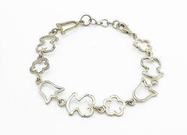 925 Sterling Silver - Vintage Flower Outlined Link Chain Bracelet - B6016 image 3